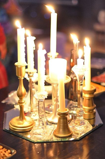 Using one or a bunch, candles create a romantic atmosphere.