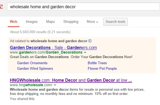Search Results on Google for Wholesale Home and Garden Decor