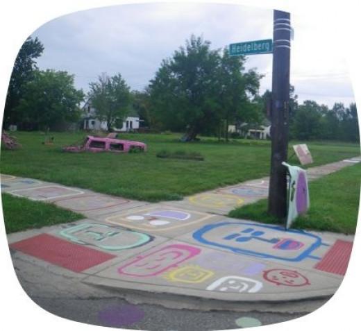 Street sign at entrance to Heidelberg Project, Detroit MI