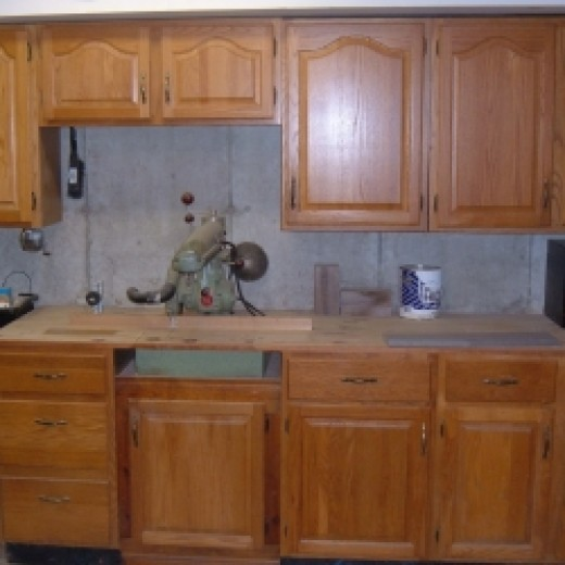 recycling kitchen cabinets into garage storage units