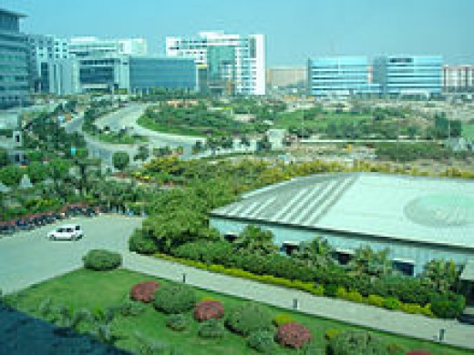 An image of the Hitech City, a hub of IT companies in Hyderabad.