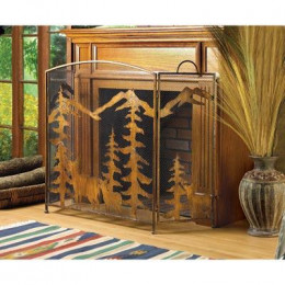 SKU 12295 Rustic Forest Fireplace Screen