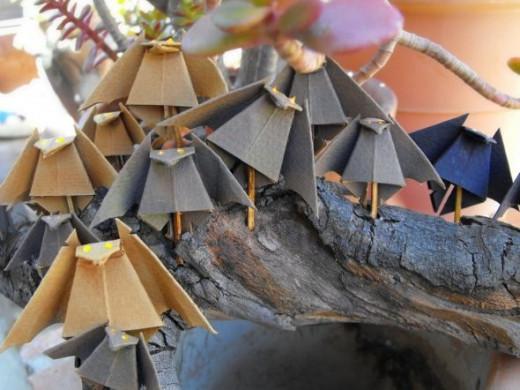 Origami halloween bats