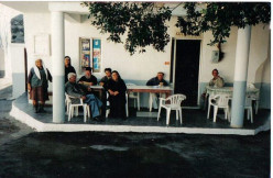 Traditional kafeneio in Mesanagros located at the entrance of the village and next door to the historic 5th century AD church, Panayia tis Theotokou.