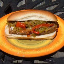 Sausage, Pepper and Onion Sandwich