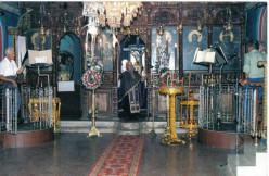 The priest of Mesanagros, Papa Matheos Stamatakis begins the Divine Liturgy.