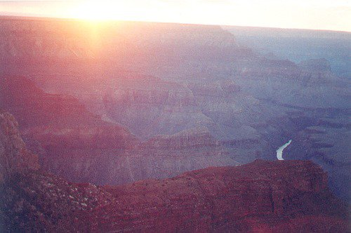 Time of sunset. Notice the Colorado River as a tiny white ribbon on the bottom left.