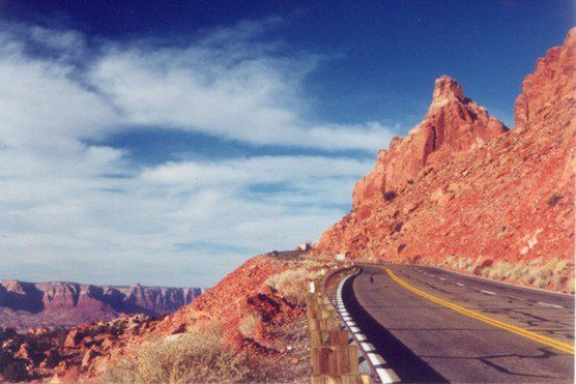 Coming down the mountain from Page, with the Vermilion Cliffs in the distance on the left.