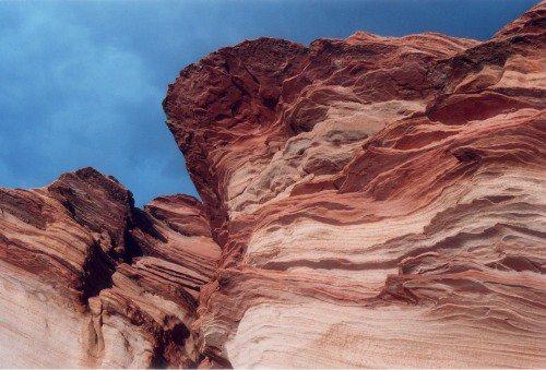 Flaky sandstone in Waterhole Canyon.