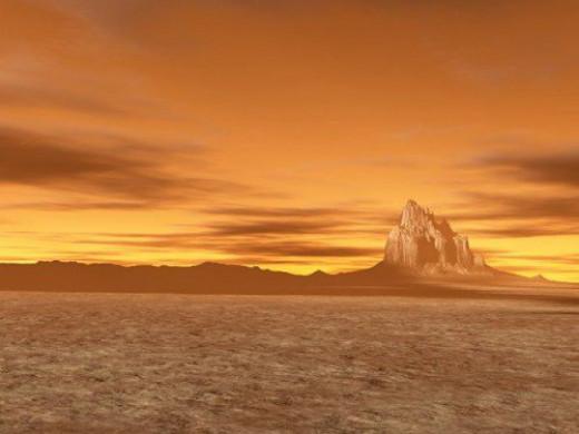 Distant Vistas. The terrain is Shiprock, New Mexico.