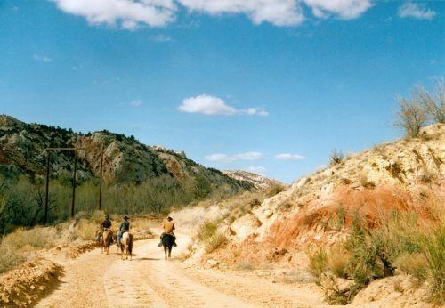 there were three cowboys on horseback.