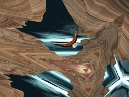 "An Eagle Flies Through - I started with a scene with strata, which you can add with plug-ins. The eagle was rendered in Vue d'Esprit. I then created different angles by ""folding"" the image in Paint Shop Pro, and added the eagle."