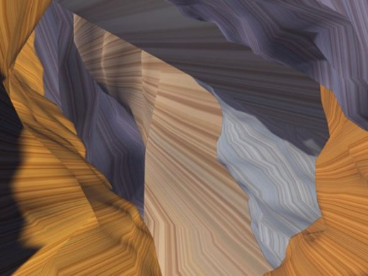 Buffalo Canyon - I wanted to see if I could make something that looked somwhat like Antelope Canyon. This has a vague resemblance. I made different images and combined them in Paint Shop Pro.