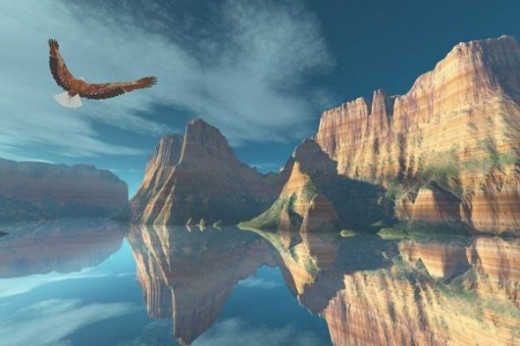 Mirror Lake - I made this for a contest, but missed the deadline for entering. The eagle was rendered in Vue d'Esprit and added in Paint Shop Pro.