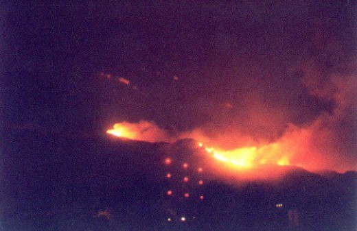 Aspen Fire. See the radio towers in the foreground, several miles closer, for comparison.