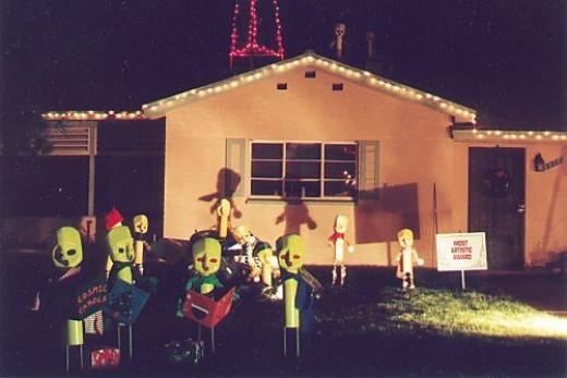 Green aliens, singing Christmas carols. From several years ago. Got Best Artist Award.