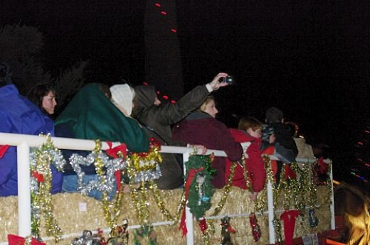 One of the hayrides going through the neighborhood.