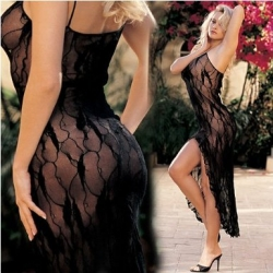 You will be ravishing in this sexy, black nightie! One size, in red or black.