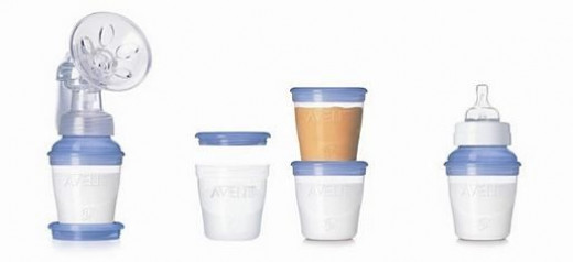 Avent VIA cups connected to breastpump or Avent nipple (image courtesy of www.usa.philips.com)