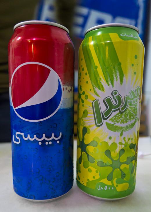 """Pepsi(Arabic: """"Bebsi"""") And Mirinda."""