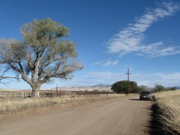 A lonely stretch of the road in Coronado National Forest of southern Arizona with my wife's car in the distance.