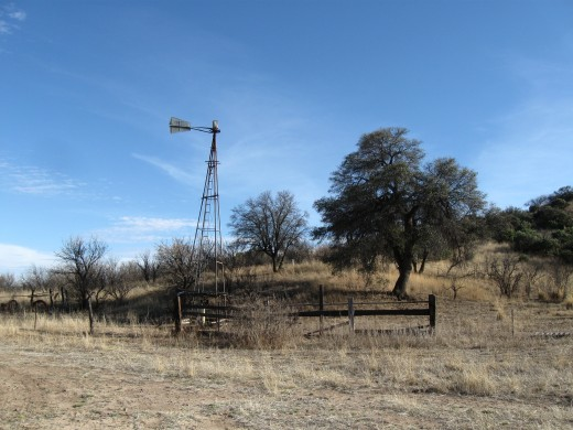 Broken windmill on abandoned ranch just north of Arizona-Mexico border in Coronado National Forest.