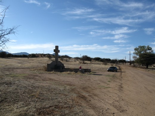 Monument to Spanish priest/explorer Fray Marcos de Niza along the lonely road in Coronado National Forest of Arizona.