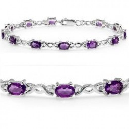 Amethyst Infinity Tennis Bracelet set in Sterling Silver ( 7.5 inches)