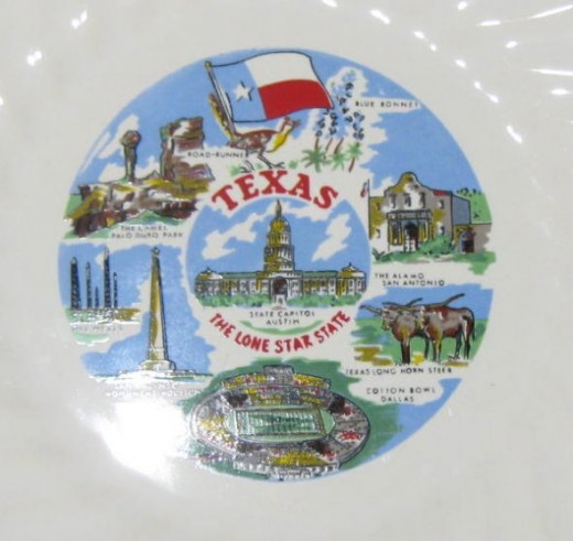 The Lone Star State... Texas state souvenir plate.