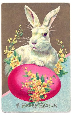 Bunny and Egg, perfect for your Easter decorations. See the Graphics Fairy link below to get this vintage postcard to use in your Easter decorating.