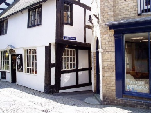 Grope Lane in Shrewsbury, England. It looks to be nice and secluded at least. Photo Credit:  Wiki Alf at http://en.wikipedia.org/wiki/File:GropeLane.jpg