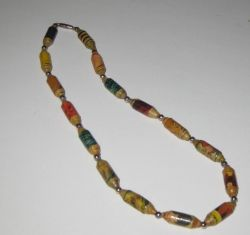 Paper beads make into a necklace.