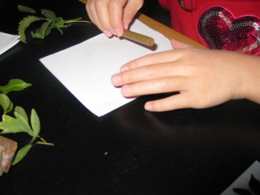 Put the leaf or other item under a piece of paper and rub with the length of a crayon.