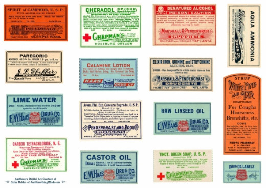 Vintage apothecary labels in color. Source:  justsomethingimade