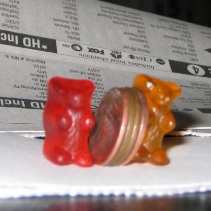 I found these four pennies on July 7, 2012. I ate these two gummy bears minutes after this photo was taken.