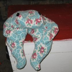 My mom made this frog out of vintage fabric but it was new at the time!
