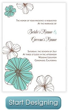 The Drawn Blossoms DIY wedding invitation motif has a hand-drawn beauty that is perfect for spring and summer weddings. This design combines whimsy with a delicate sensibility. Source:  http://invys.com/wedding-invitations-3