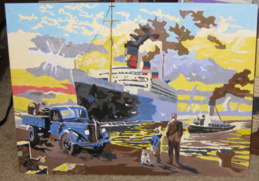 The completed paint by numbers painting of the Queen Mary. Interesting experience!