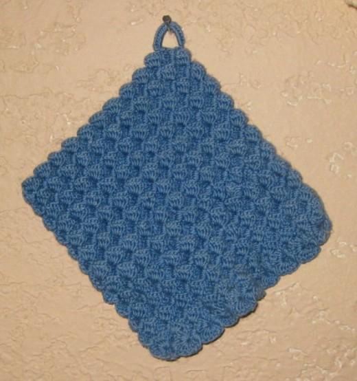 Blue handmade potholder