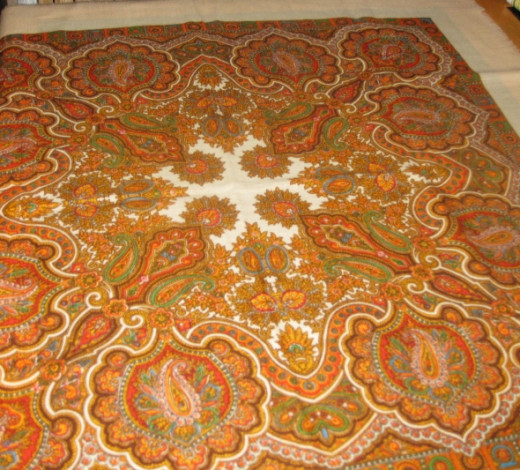 Paisley design in tablecloth. All photos here by Peggy Hazelwood.