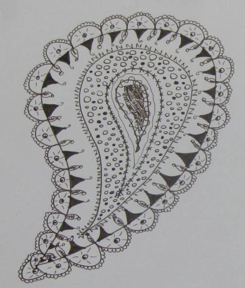 Paisley Zentangle inspired by the paisley design in my throw pillows.