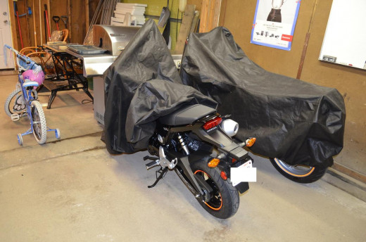 My 2014 Honda Grom partially uncovered.
