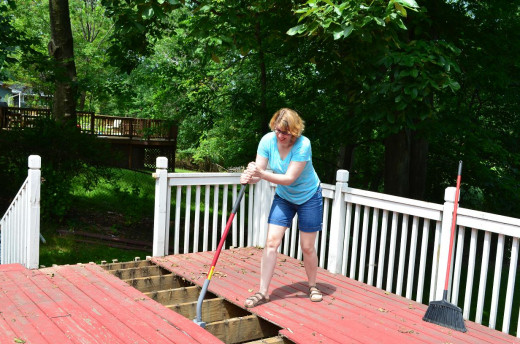 Wifey using the Duckbill Deck Wrecker.