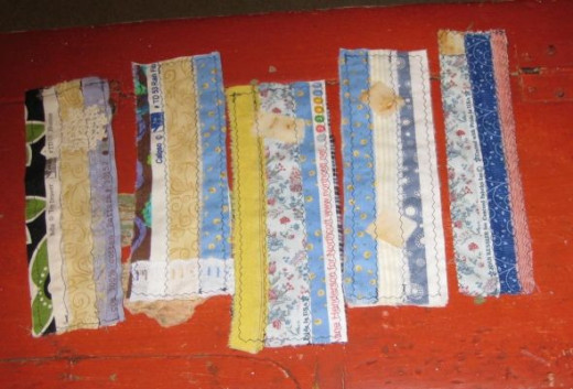 Bookmarks made with selvage fabric.