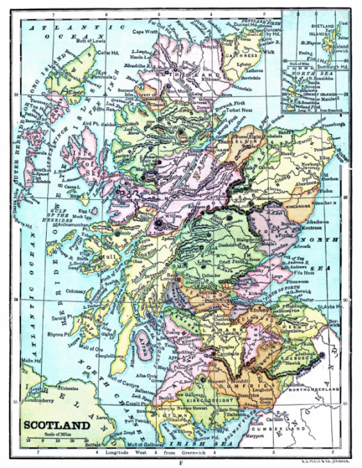 Vintage map of Scotland. Courtesy of The Graphics Fairy. See link below to download and print this map.