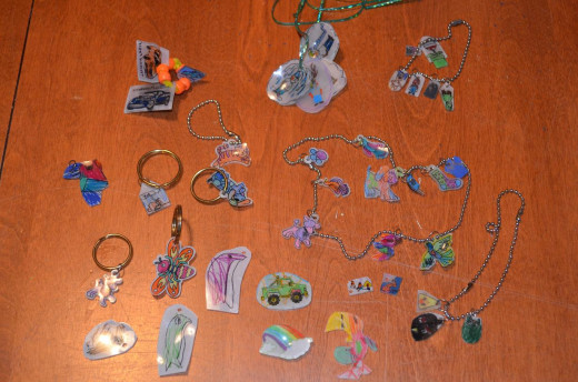 All of my daughter's Shrinky Dink creations!