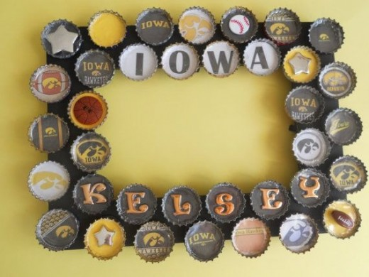 Iowa University Bottle Cap Picture Frame by PictureCaps on Etsy. See below for link.