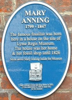 Plaque at the site of Mary Anning's home and shop.