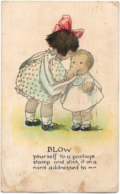 Vintage postcard depicting how to use a hankie.