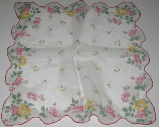 Silky handkerchief with printed flowers.